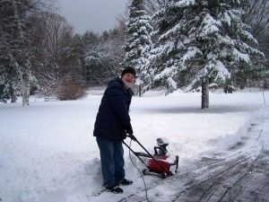 John snow-blowing the driveway Dec 11